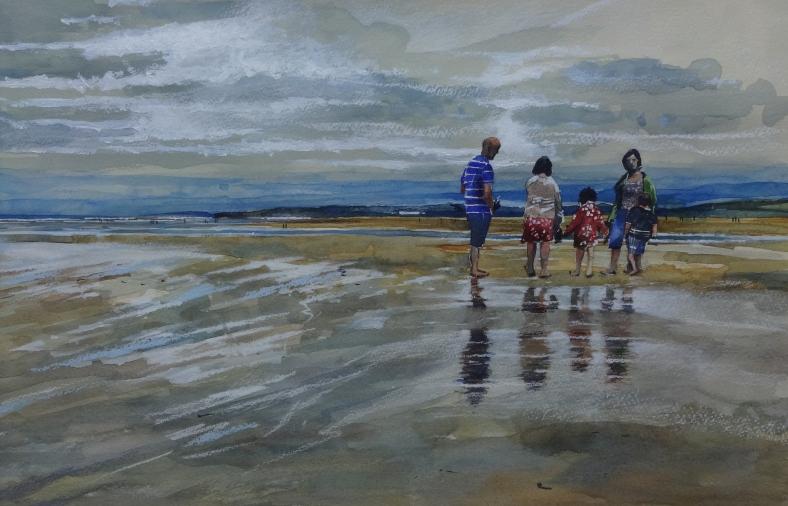 Family on Westward Ho Beach.