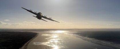 Hercules C130J over Saunton Sands, photoshopped image.