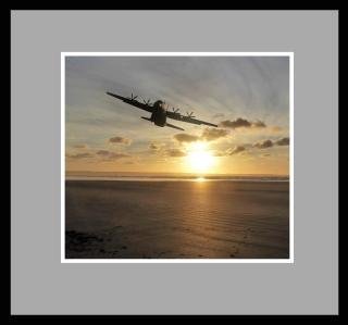 Hercules C130J over Saunton Sands, photoshopped image.