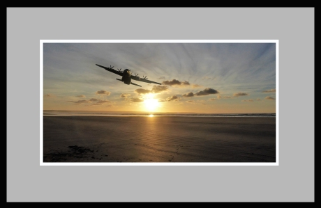 Hercules C130J over Saunton Sands, photoshopped.